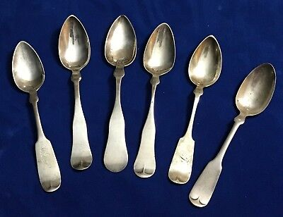 Lot of 6 Antique Silver Spoons 6 Different Makers 5 Coin Silver, 1 Sterling