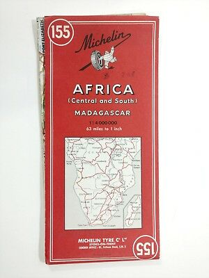 Vintage Michelin Map of Africa Central, South and Madagascar French and English