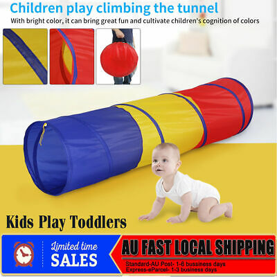 Baby Kids Crawl Tunnel Pop Up Play Tent Cubby Indoor Outdoor Activity Toy AU