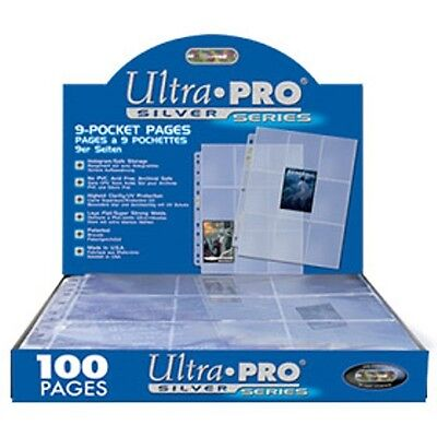 Ultra Pro 9 Pocket Pages 100 Pack Silver Series [NEW] Card Case 3 Ring Plastic