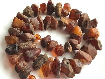 Natural Antique Baltic Vintage Amber OLD BUTTERSCOTCH  BEADS Necklace 64 gr