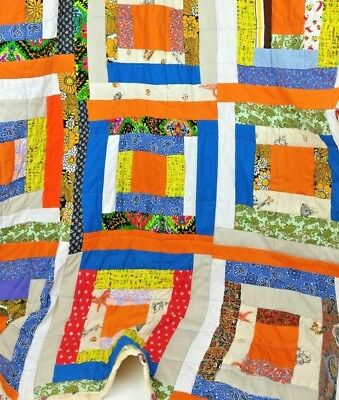 """Vintage Mid century Hand Made Quilt 69"""" X 52"""" Inches Paisley,Folk Art Quilt Dogs"""