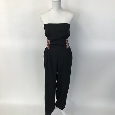 772e633e1766 Bisou Bisou Michelle Bohbot Womens Jumpsuit Black Stapless Slim Leg Beading  S