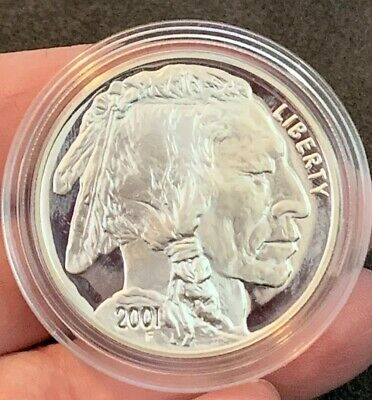 One-1oz. Silver Bullion Round .999 2001 Indian Head Buffalo Gem Unc In Holder!