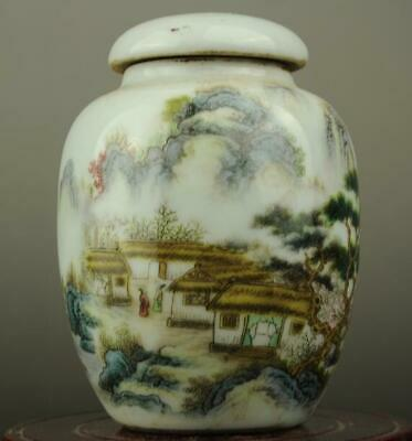 Chinese old famille rose porcelain Hand painted bird and flower Cover pot b01