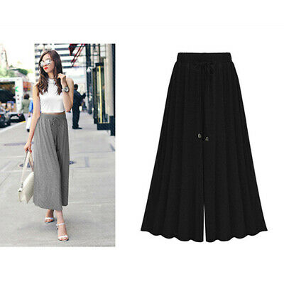 Stylish Ladies Solid Color Trousers Casual Baggy Wide Leg Stretch Women Pants N7