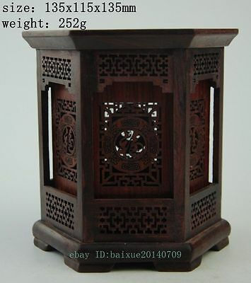 Exquisite Chinese Wood hand-carved Hollow hexagon pen cases brush pot e01