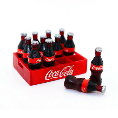 12PC Dollhouse Miniature Mini Coca Cola Bottle With 1 Cola Base Model Decor Gift
