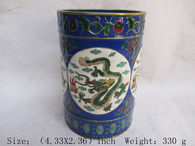 The antique good cloisonne dragon in ancient China. Pen container d02