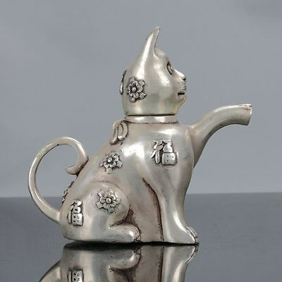 Old Chinese Tibet Silver Handwork Cat Shaped Teapot W Xuande Mark dx336