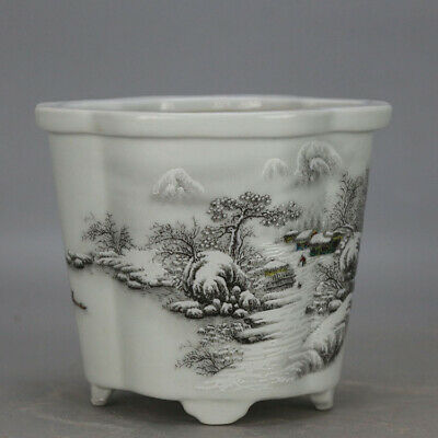 Chinese old hand-carved porcelain white  glaze snowscape pattern flowerpot