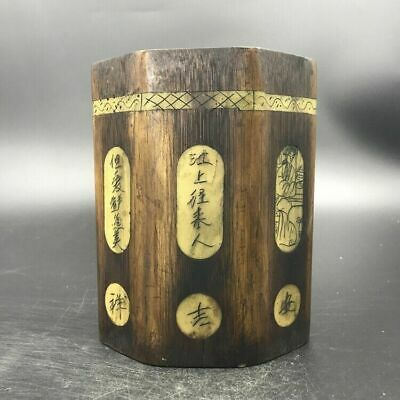 Chinese antique wood carving penholder beauty pattern.    c516