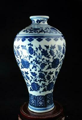 Chinese Old Blue And White Porcelain Hand-Made Hand Painted Flower Vase C02