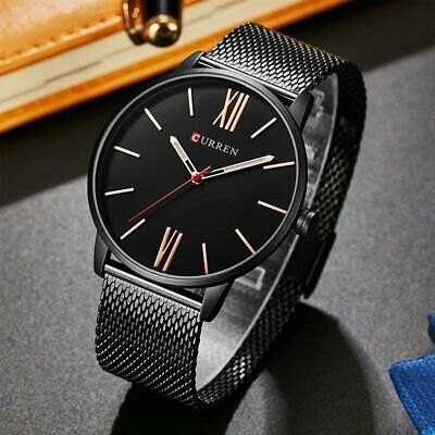 Men's Fashion Stainless Steel Band Quartz Analog Wrist Watch Sport Watches Gifts