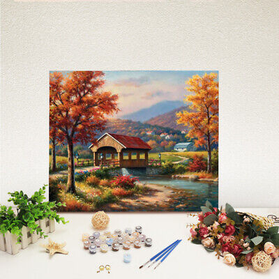 Various House DIY Paint By Number Kit Digital Oil Painting Canvas Framed Decor