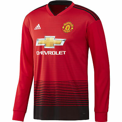 4b02cba5a00 adidas Manchester United 2018 19 Mens Long Sleeve Home Football Shirt Red
