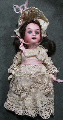 "Vintage Miniature Bisque Doll - Germany - 5.5"" - Glass Eyes - Open Mouth - WOW!"
