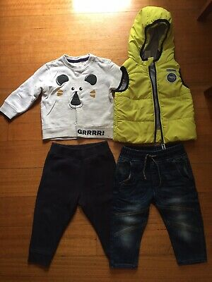Cute Baby Boys Yellow Puffer Jacket Vest Size 6 - 12 Months Hooded Size 1