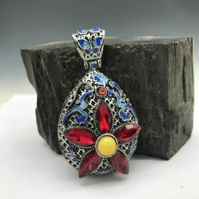 Collection of Chinese Cloisonne pendant inlaid with artificial gemstones.   b759