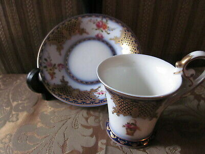 Crown Plaue, Thuringia Germany Demi Cup Hand Painted Cobalt Blue Gold Pink Roses