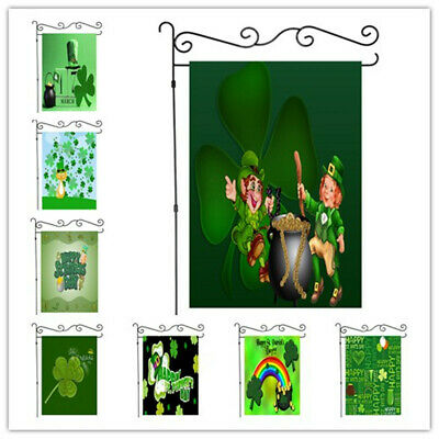 Happy St. Patrick Green Garden Flag Double-sided House Decor Yard Banner 12x18in
