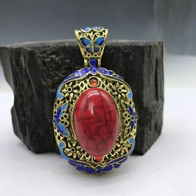 Collection of Chinese Cloisonne pendant inlaid with artificial gemstones.   b757