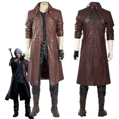 Devil May Cry V DMC5 Dante Aged Outfit Boots Costume Cosplay Coat Full Set