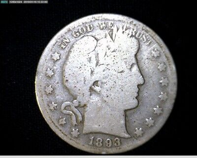1893 S Silver Barber Half Dollar Rare Coin Hard To Find  Only 740,000 Minted J10