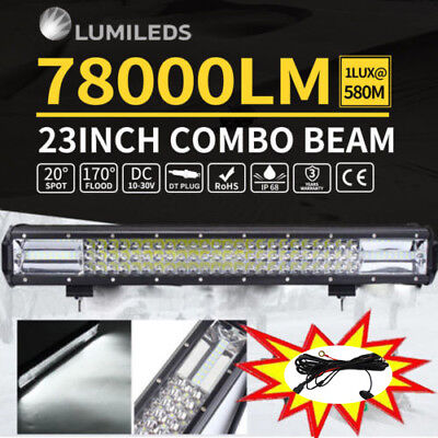 23inch Philips Led Light Bar Spot Flood Osram 7D Offroad Driving Lamps 4WD 23''