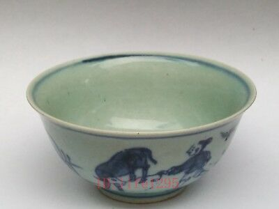 Super Collect China Traditinal Art Old Porcelain painting Lad Herd Cows Bowl Cup