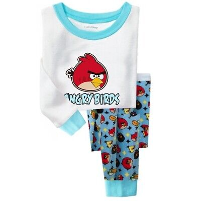 Kids Boys Angry Birds Pattern Pajama Set Size 3T Cotton Nightwear Breathable