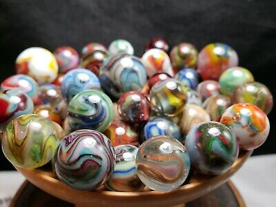 VINTAGE GLASS MARBLES JABO  D.A.S.  Mixed INVESTOR LOTS! 54 MARBLES 3 DAY NR!