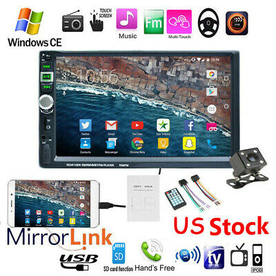 "7"" HD Double 2 DIN Car Radio Stereo MP5 Player Touch Screen USB BT+Camera"