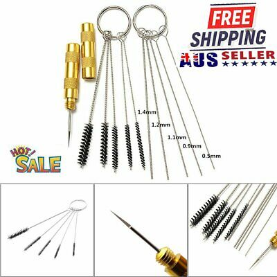11pcs Airbrush Cleaning Needle & Brush Accessories Kit for Spray Gun Cleaner #T