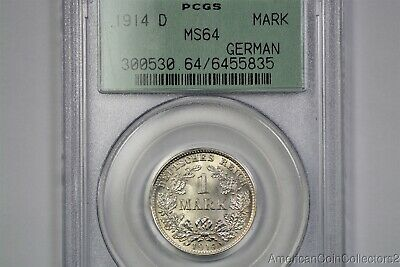 Germany Large Eagle 1 Mark 1914-D PCGS Green MS64 Silver Coin German Empire 3887