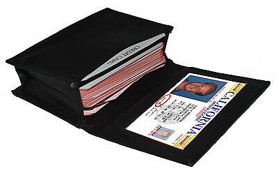 Black Mens leather ID credit business Card Thin Wallet Expandable Case Holder NR