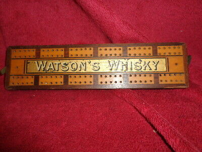 Collectable/ Vintage/old Watsons Whisky Advertising Cribbage Board