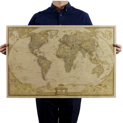 Retro Wood Paper World Map Antique Paper Poster Wall Chart Home Decor Hot Sale