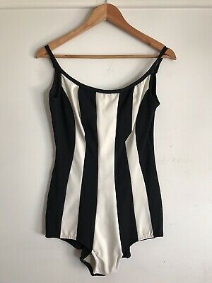 Vtg 1960s Watersun Unquestionable Black & White Striped Pinup Swimsuit Sz 38