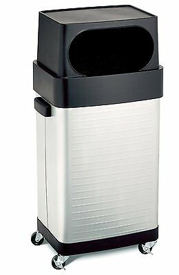 Stainless Steel Trash Bin Garbage Can Wheel Break Room Office Home Kitchen Waste