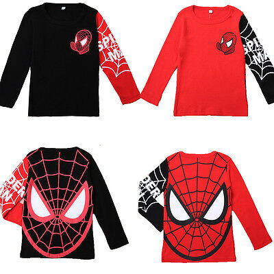 Kids Boys Superhero Costume Long Sleeve Cosplay T-Shirt Casual Party Outfit Tops