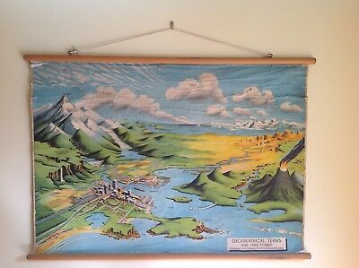 Original 50-60's Vintage School Geographical Wall Map