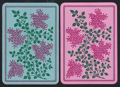 2 Single ANTIQUE Playing/Swap Cards OLD UK WIDE FLOWER SPRAY DLR Dexter c1880