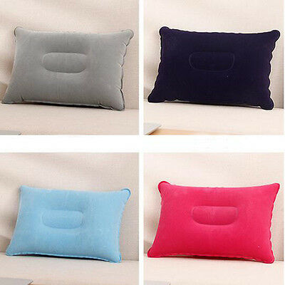 Outdoor Travel Folding Air Inflatable Pillow Flocking Cushion for Office Plane
