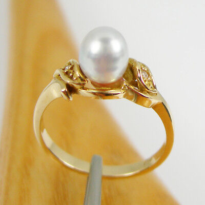 South Sea Keshi Pearl Diamond Petitie Ring Genuine 750 18k 18ct Yellow Gold