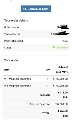 Week 1 Tomorrowland ticket Magical Friday pass (can personalize)