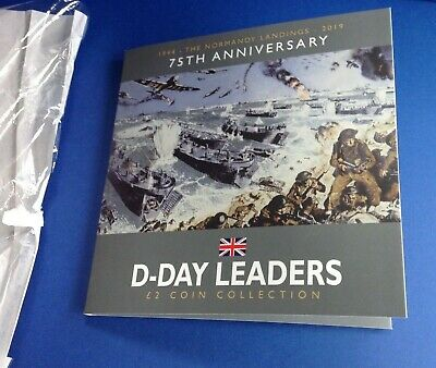2019 Isle of Man The D-Day Leaders 75th Anniversary £2 BUNC Coin Collection