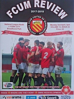FC United of Manchester v York City 2/4/2018 National League North MINT. RARE.