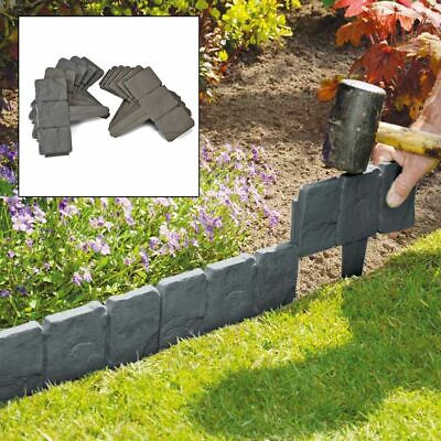 Grey Cobbled Stone Effect Plastic Garden Lawn Edging Plant Border