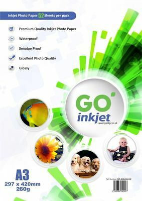 50 Sheets A3 260gsm Glossy Photo Paper + Extra 2 Sheets Per Pack by GO Inkjet